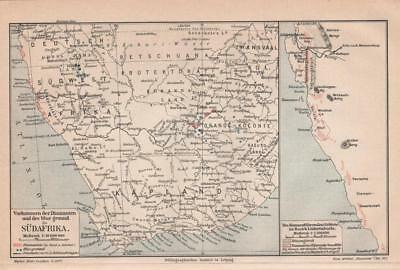 Antique map. SOUTH AFRICA. MAP OF BLUE GROUND & DIAMOND MINES. 1905