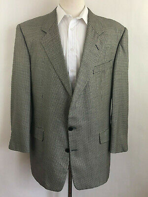 GIEVES & HAWKES Lexington Houndstooth Sport Coat Silk Wool Jacket Size 44R