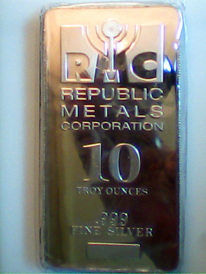 REPUBLIC METALS CORPORATION (RMC) 10 TROY OUNCES .999 FINE SILVER Bar