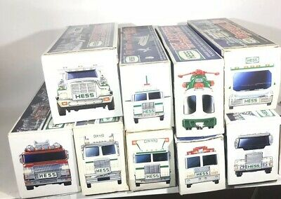 Hess Truck Lot of 9 with boxes EUC 1998 99 00 05 06 Helicopter Fire Rescue Buggy