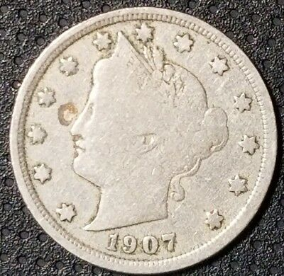 """1907 Liberty Head """"V"""" Nickel Nice Coin For Your Collection FREE SHIPPING"""