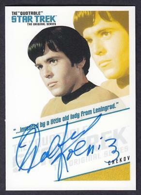 "Star Trek Quotable Tos Autograph  Walter Koenig As Cheov Qa4 ""invnted By..."