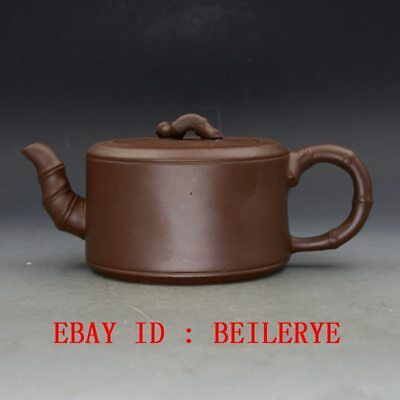 Chinese Yixing Zisha Hand-carved Bamboo Shape Teapot BY15