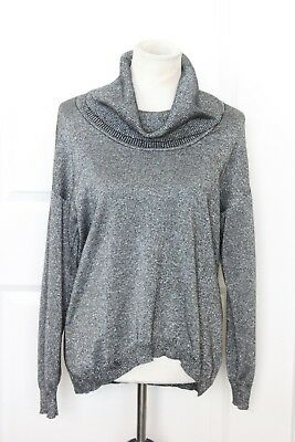 82ed93bb3e1e1 ELLEN TRACY Women s Silver Cowl Neck Sweater Long Sleeve Cotton Blend Small