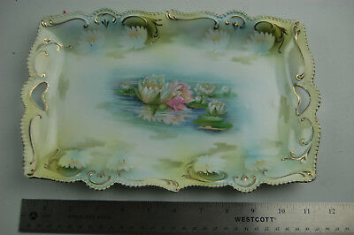Vintage RS Prussia Floral Dresser Tray with Waterlilly