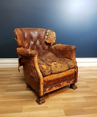 Antique/ Vintage Old Worn Leather Club Chair 1920's Upholstery Project