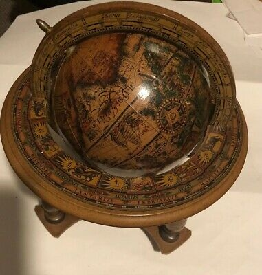 Vintage Retro Old World Zona Signs Globe Spins on Stand Horoscope