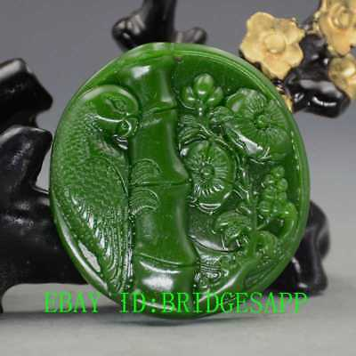 Chinese Natural Green Hetian Jasper Jade Hand-Carved Parrot & Peony Pendant A18