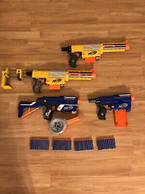 LOT Of 4 NERF N-STRIKE Recon  Retaliator Nerf Gun With Clips And Darts NF4LG