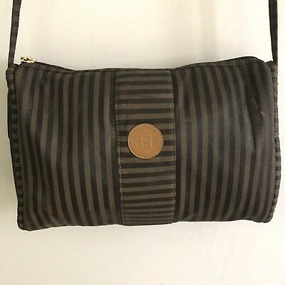 22d747d4f7e3 FENDI VINTAGE TAN Black ZUCCA Crossbody Purse Shoulder Bag Handbag ...