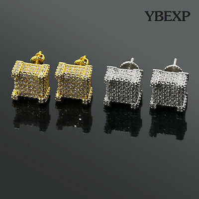 Mens 18K Gold Plated Iced Out Two-Tone CZ Micropave Square Earring Stud Hip Hop