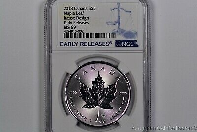 2018 Canada 1 oz Silver Maple Leaf Incuse Design Early Releases NGC MS69 14013