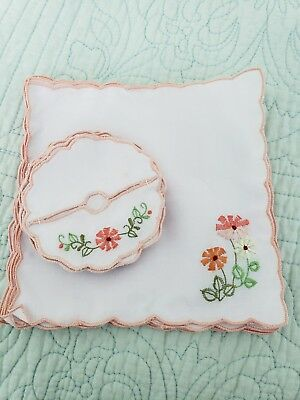 Lot of 12 Vtg Embroidered Luncheon Tea Napkins With Matching Coasters