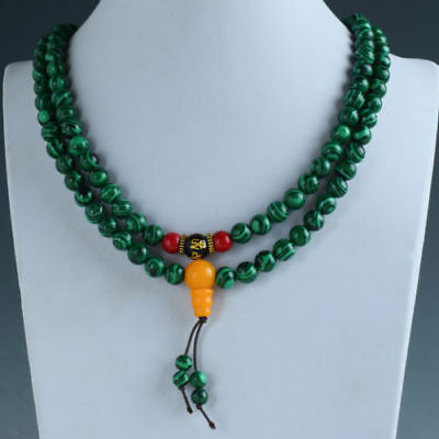 100% Natural Malachite & Beeswax Handwork Decoration Necklaces