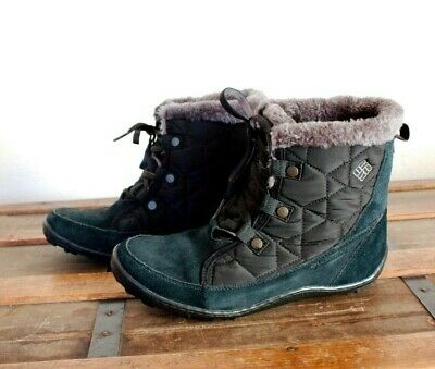 a6338756a4b0bc Columbia Women s Minx Shorty Omni-Heat Snow Boot Black Suede Gray Faux Fur  EUC!