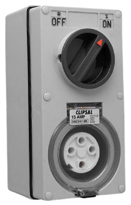 Clipsal 56-SERIES SWITCHED SOCKET OUTLET CLI56CV416KGY 500V 16A 4-Pin 3-Poles