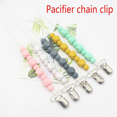 Silicone Baby Nipple Clasps Dummy Holder  Teething Toy  Pacifier Clip Chain~