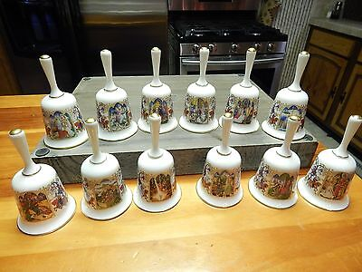 "Set of 12 Vintage ""The Romance of Camelot"" Fine Bone China 24K Gold Trim Bells"