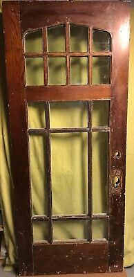 Antique Arts & Crafts Wood Exterior French Entry Door /w 17 Pane Glass 34x81