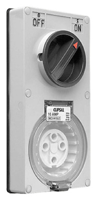 Clipsal VERTICAL SWITCHED SOCKET CLI56CV410LEGY 500V 10A 4-Pin, Less Enclosure