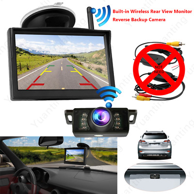 "5"" LCD Car Rear View Monitor Backup Camera Built-in Wireless Kit For Reversing"