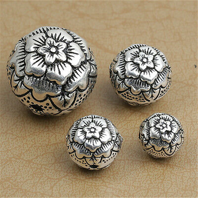 Sterling Silver Rose Flower Round Ball Bead 925 Silver 10mm 12mm 14mm 20mm