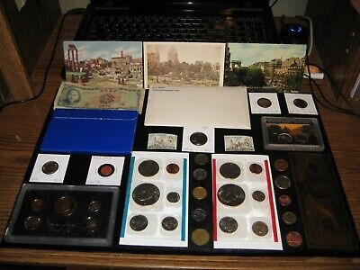 Coin Lot Collection Proof Set IKE Dollar Mint Coins Old Postcard Nickels Foreign
