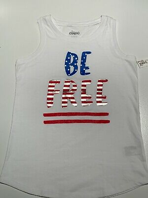 840b6a0171 NWT JUSTICE GIRLS Glitter Peace Boho Red White Blue 4th of July Tank ...