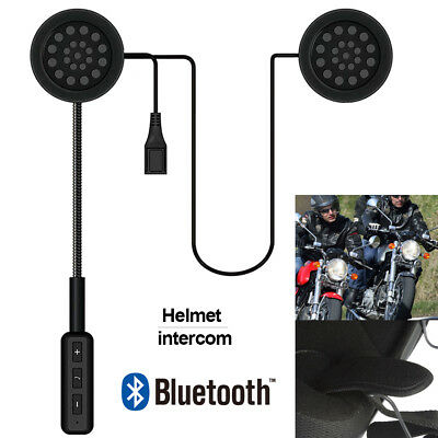 Rechargeable Motorcycle Helmet Headset Speaker Mic Bluetooth Handsfree Music