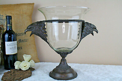 French 1970 cast spelter bronze eagle handles glass centerpiece bowl