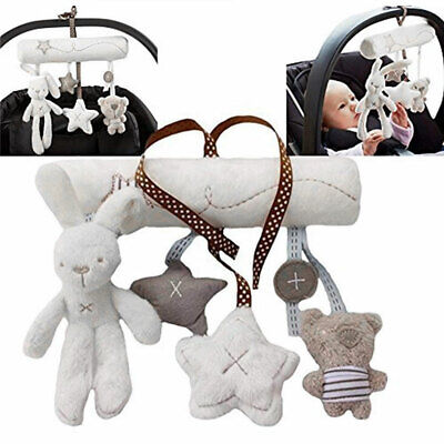 Baby Rattle Bed Hanging Toys for Newborn Infant Rabbit Bear Soft Plush Music Car
