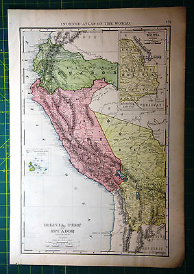Bolivia Peru Ecuador Original Vintage 1898 Antique Rand McNally World Atlas Map