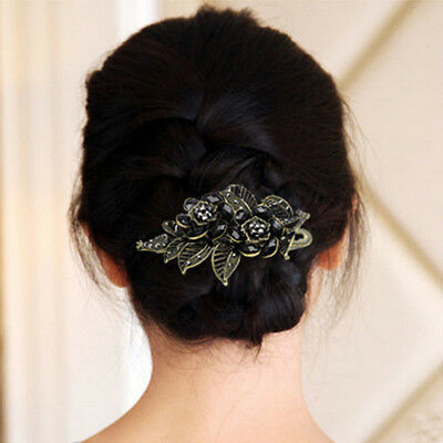 Sharp Mouth Alloy Crystal Rose Flowers Petal Hairpin Clamps Styling Hair Clip YI