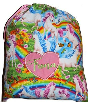 Personalised drawstring library bag - Unicorns and Butterflies