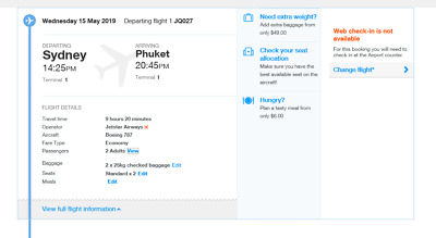 2x Flights to Phuket (Thailand) with Jetstar Airline From 15th May to 27th May