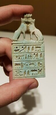 RARE ANCIENT EGYPTIAN ANTIQUES TALISMAN AMULET With 2Ubasti Cat Carved Stone BC
