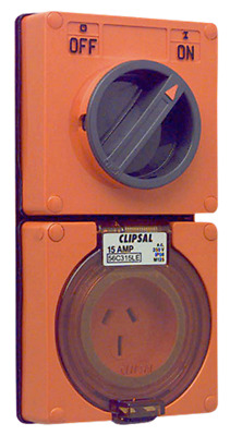 Clipsal SWITCHED SOCKET OUTLET 230V 15A 3-Pins 2-Poles Less Enclosure, Orange