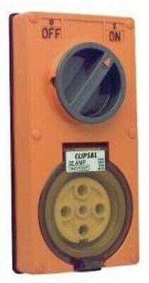 Clipsal SWITCHED SOCKET 500V 5-Pins 3-Poles, Less Enclosure, Orange- 10A Or 32A