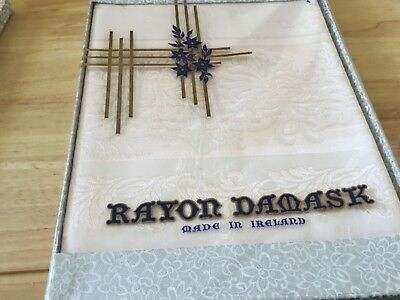 VINTAGE RAYON DAMASK TABLECLOTH 52 x 52 inches
