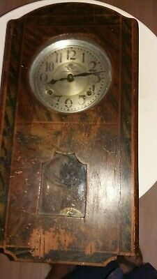 Vintage wall clock for spares or repair (cannot make out the maker)