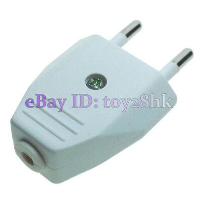 (3 PCS) EU Type C DIY Rewireable Power Plug ø4mm Pin 220V 2.5A White