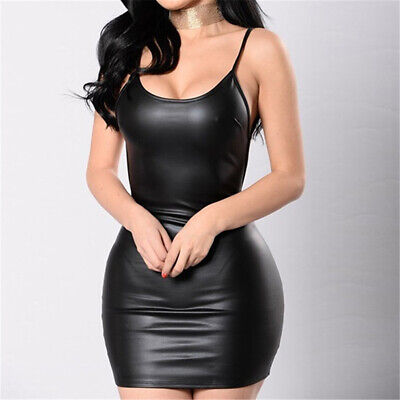 Women Summer PU Leather Backless Dress Tight Hip Sexy Bodycon Mini Dress ONE