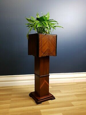 Rare Art Deco Planter Box, Stand Walnut and Ebony, Restored, Ready to Use c.1930