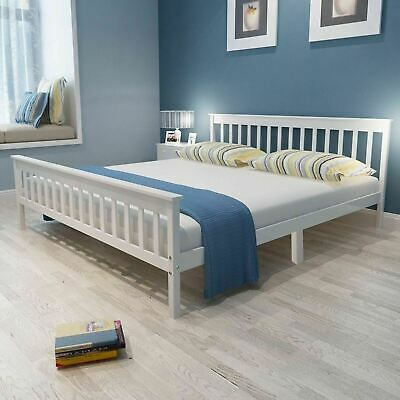 Modern Wood Bed Frame Solid Pine White 4ft6 Double Bed With/Without Mattress
