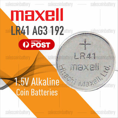 MAXELL AG3 LR41 1.5V Cell Coin Alkaline Button Battery Batteries Stock in Mel