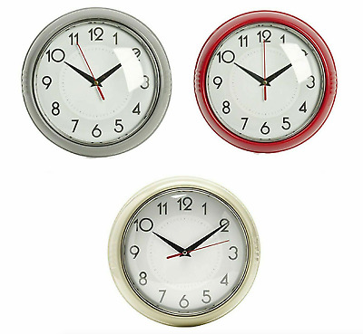 Retro Clock Wall Diner Vintage Home Office Analogue Dining Room Metal Battery 12