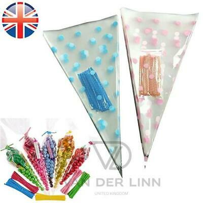 *UK Seller* Medium Polka Dot Cellophane Cone Bags Twist Ties Party Sweet Cello