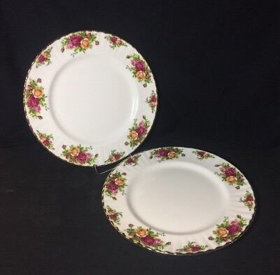 "2 Royal Albert Old Country Roses Dinner Plates England 10 1/2"" England 1962 New"