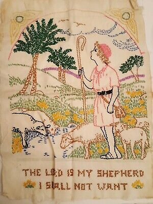 """Vintage Embroidery Cross Stitch on Linen The Lord is My Shepherd 1940s  11 x 15"""""""