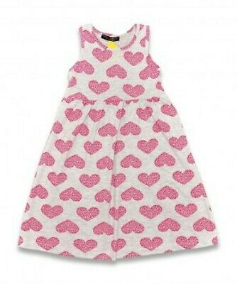 Girls Summer Grey and Pink Heart Print Dress - Age 3 - 4 - NEW!